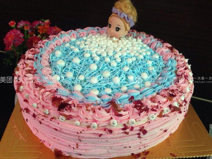 圆形蛋糕垫底,芭比娃娃浴缸蛋糕!