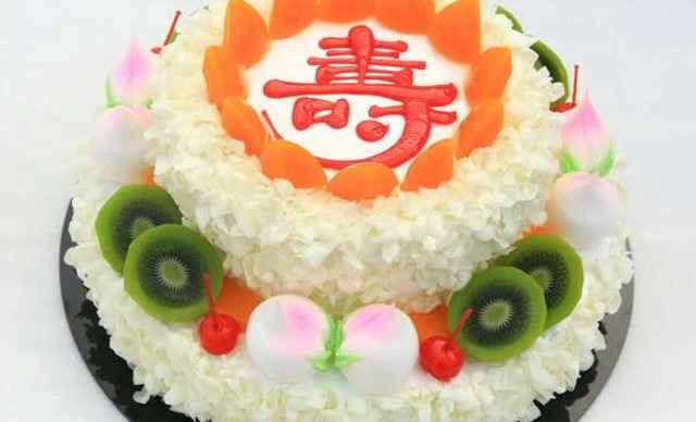 4店通用】金洋蛋糕双层祝寿蛋糕1个,约14寸,圆形-金洋蛋糕团购 图片