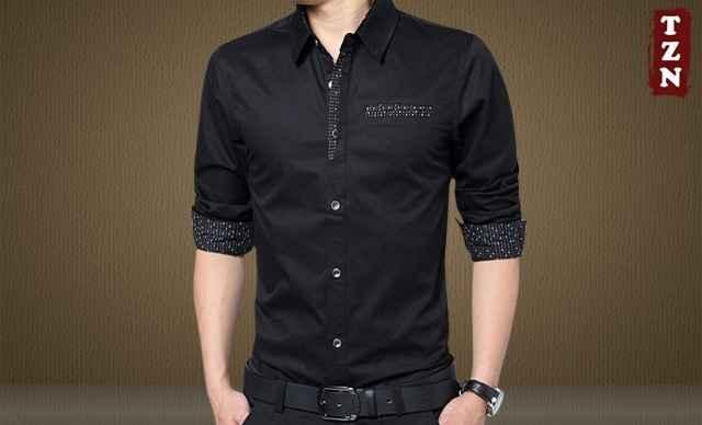 天知鸟修身长袖衬衫
