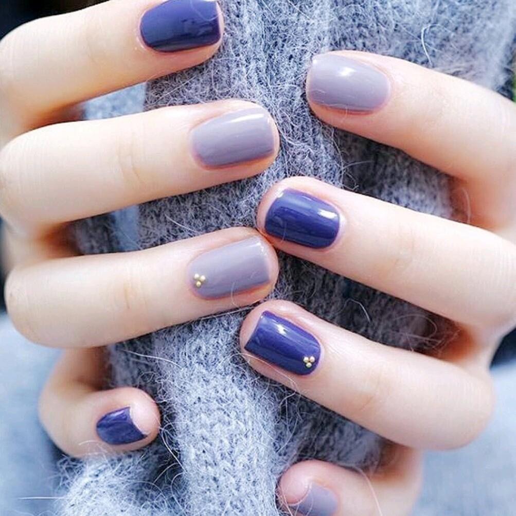 M L小铺 美容美甲纹绣-单人纯色 蓝美甲款式一口价,仅售38.8元,价值138元单人纯色 蓝美甲款式一口价!