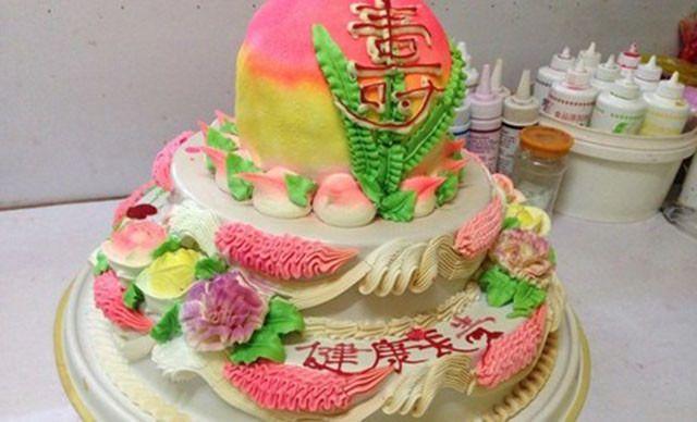 三层祝寿生日蛋糕1个,约16英寸