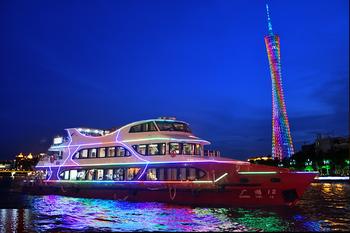 【沿江路沿线/二沙岛】珠江夜游天字码头珠江观景豪华游船全自助通票-美团