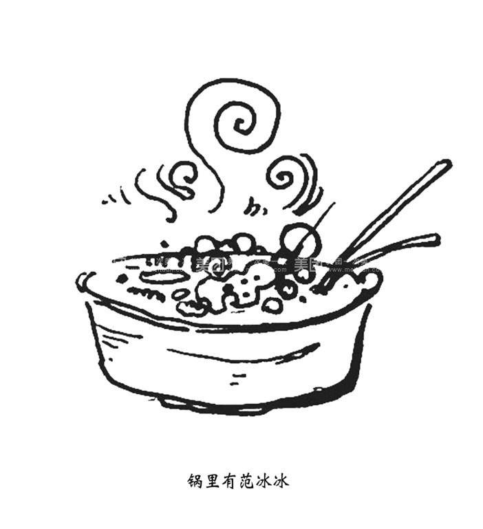 手绘火锅卡通画