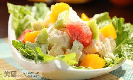 美食团购 西餐  内容 单价 数量/规格 小计 头盘 水果沙拉 28元 1份图片