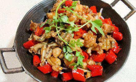 干锅田鸡双人套餐,红辣辣,火红红的美味尽在小湘楼
