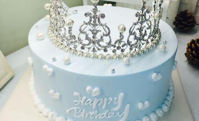 :长沙今日团购:【蜜思琳甜品定制】女王款皇冠生日蛋糕动物奶油蛋糕1个,约8寸,圆