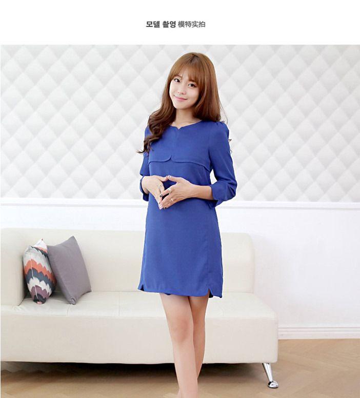 女装纯色九分袖连衣裙