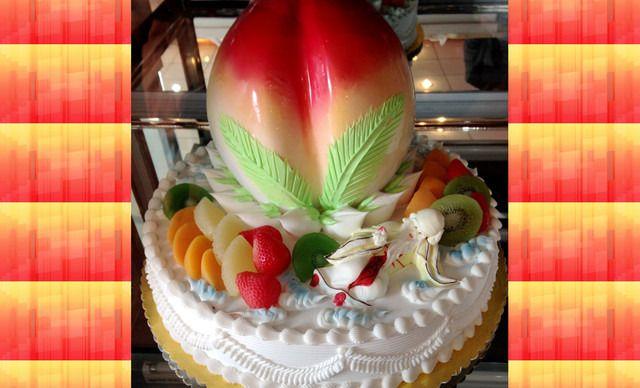 烟台/仅售278元!价值340元的14英寸双层寿桃蛋糕1个,约14英寸,...