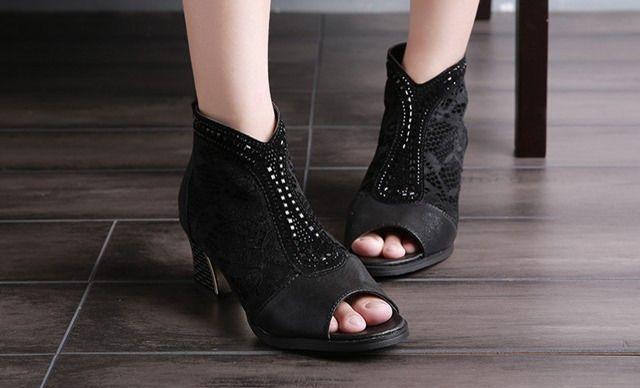 【艾罗拉蕾丝鱼嘴凉靴】选用v蕾丝PU+高级蕾丝海南特种设备图片