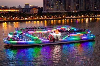 【沿江路沿线/二沙岛】珠江夜游蓝海豚游船情侣票双人票-美团