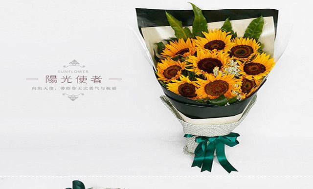 :长沙今日团购:【绿韵花艺鲜花店】9枝向日葵花束套餐,商家免费赠送贺卡一张