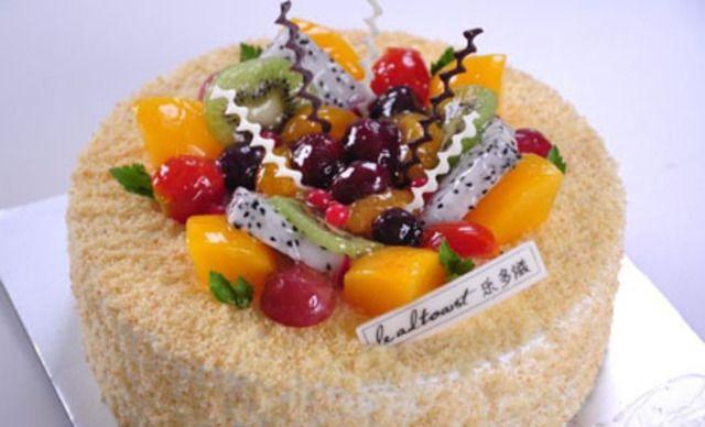 10英寸水果蛋糕1个,可免费在蛋糕上写字。甜蜜共分享