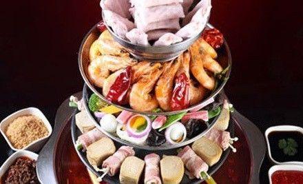 4人餐,能涮能烤有香锅,商家免费为消费者提供自助小料和主食