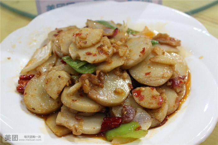 炒猪灌肠(蘸蒜)大蒜阳光图片