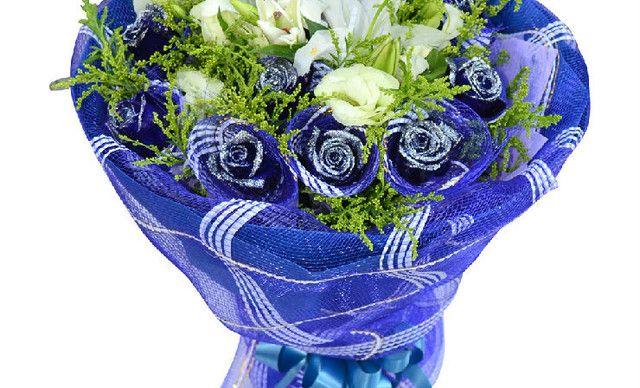 花之爱鲜花11蓝色妖姬 套餐,仅售198元!价值388元的11蓝色妖姬 套餐