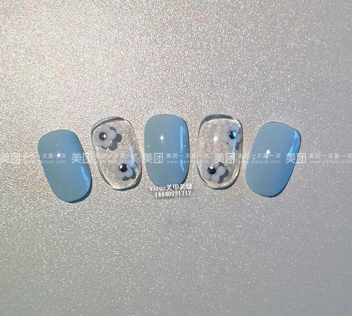 流程:消毒,指甲修型,泡手,指缘去角质,底胶,纯植物甲油胶,美甲样式