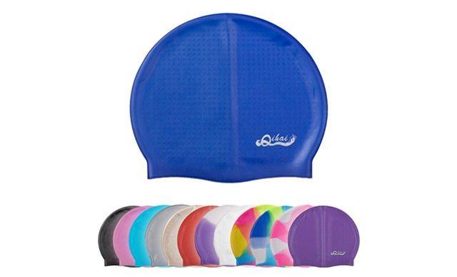 奇海硅胶泳帽,仅售15元!价值59元的奇海硅胶泳帽1个,奇海硅胶内防滑颗粒泳帽 纯色七彩防水护耳成人男女时尚泳帽