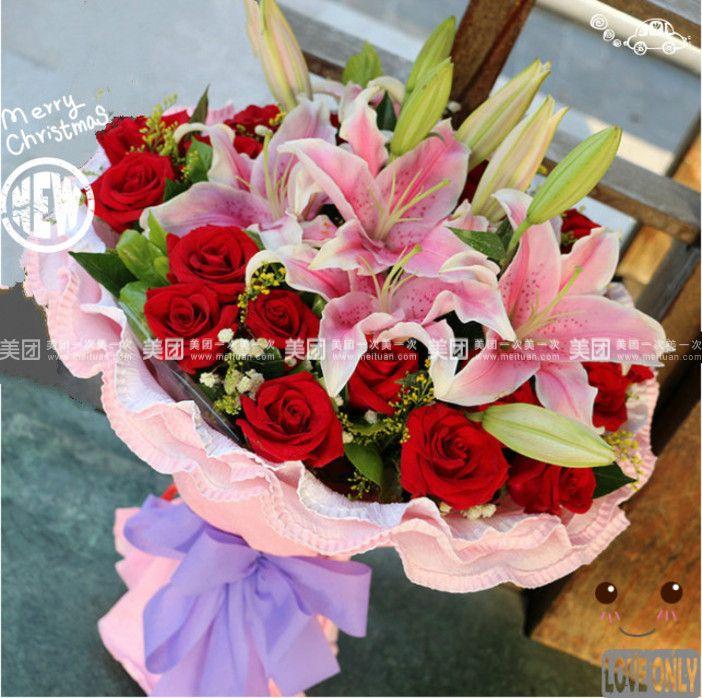 【北京小清新花艺团购】小清新花艺19朵玫瑰加2枝