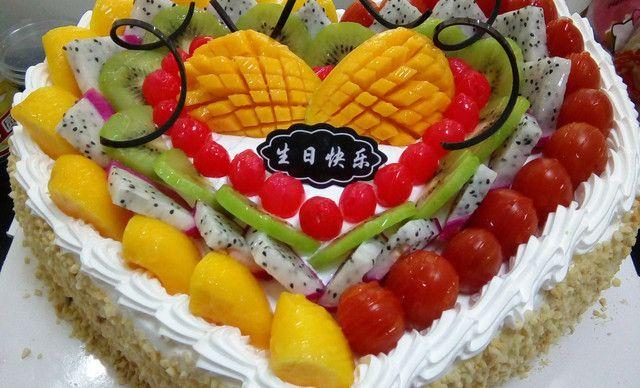 :长沙今日团购:【幸福时光蛋糕坊】爱心型水果蛋糕1,约14英寸,