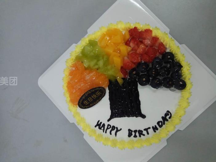 鲜水果动物奶油蛋糕