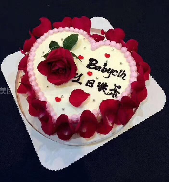 创意桃心玫瑰花蛋糕