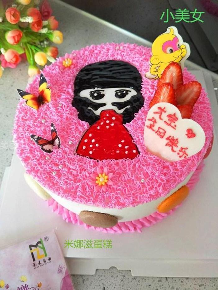 美女背影手绘蛋糕