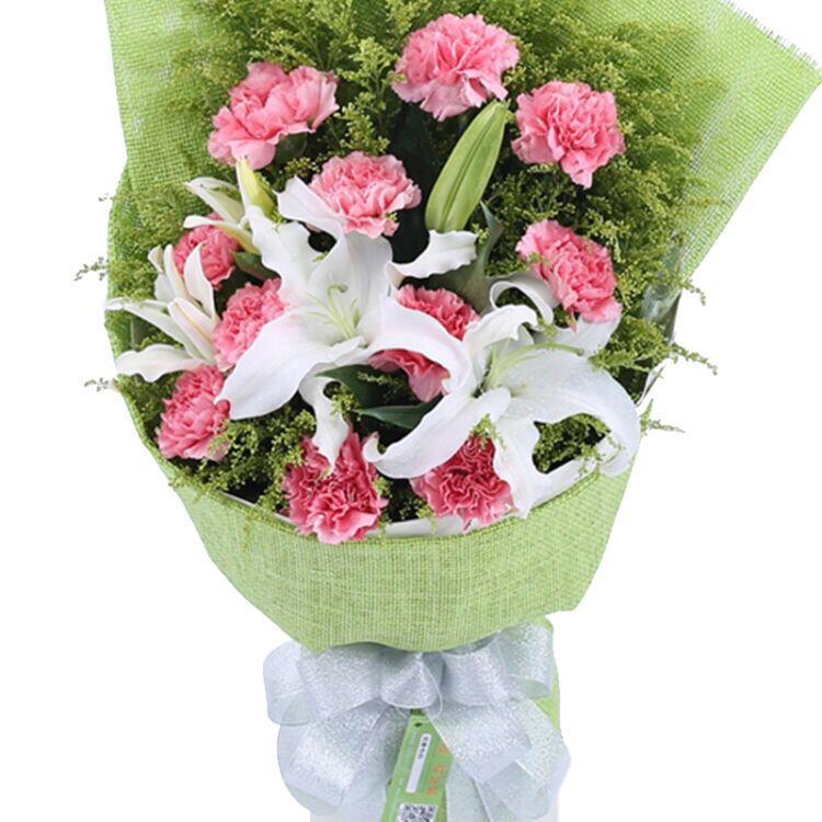 康乃馨11支加香水百合教师节母亲节鲜花花束