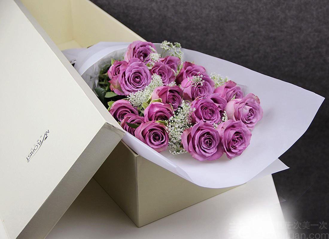 购好运鲜花店 11支玫瑰花束礼盒 美团网