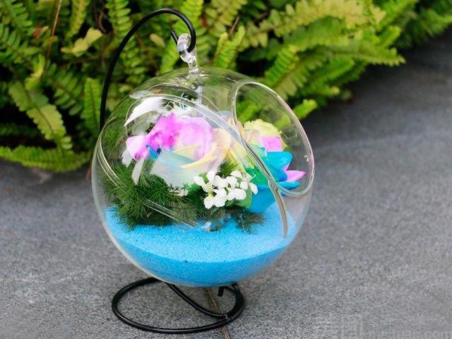 :长沙今日团购:【绿韵花艺】3枝七彩玫瑰花盒4选1