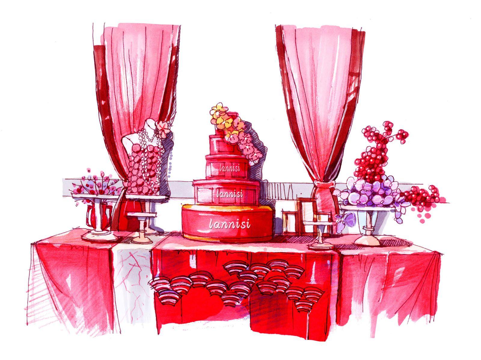 婚纱手绘图 红色