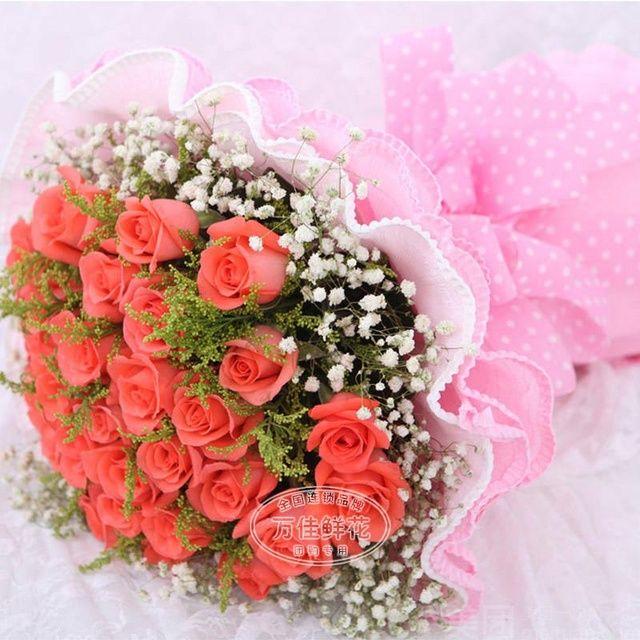 :长沙今日团购:【万佳鲜花】33朵玫瑰精美包装鲜花一束(4选一)