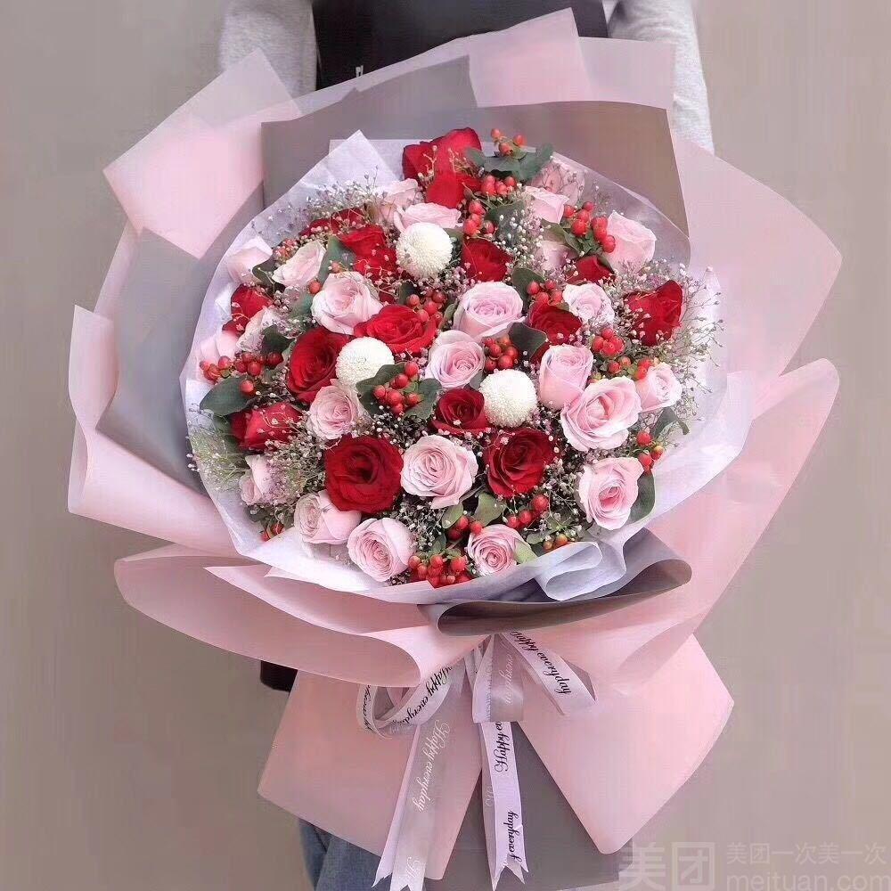 :长沙今日团购:【梦花居花艺生活馆】33枝玫瑰混搭花束