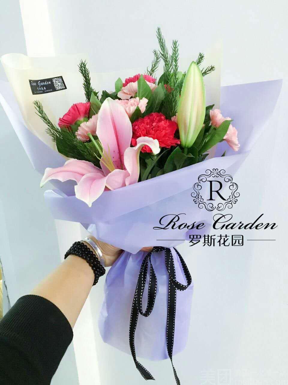 罗斯花园花店 11支玫瑰 11支康乃馨 2支百合花束2选1 美团网