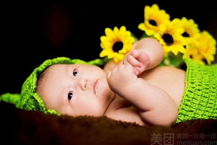 彩色花瓣儿童摄影-美团