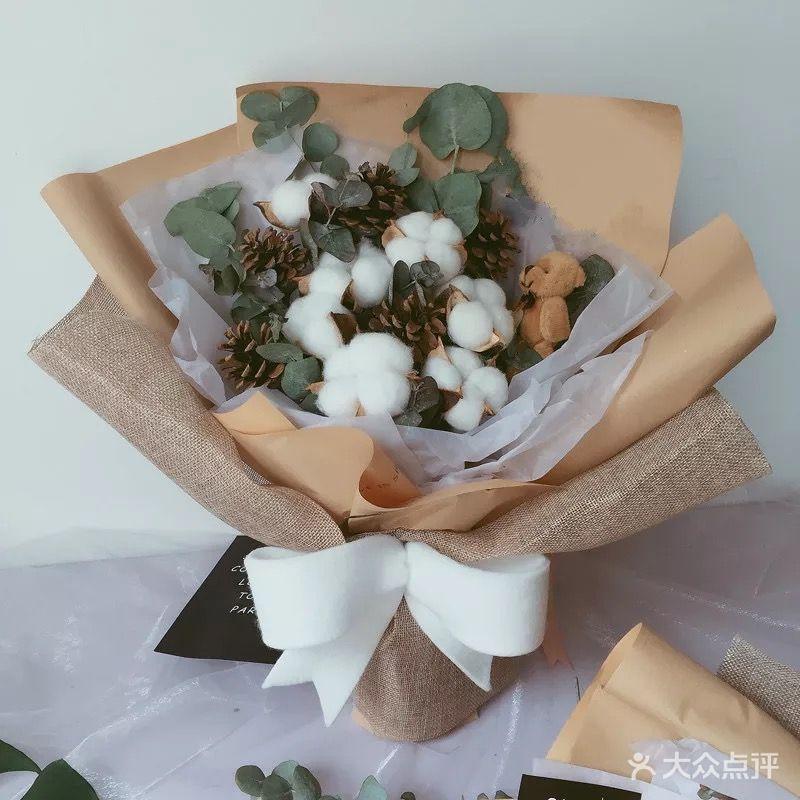 棉花干花尤加利生日毕业情人节礼物小清新花束