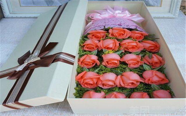 可可鲜花 19支玫瑰礼盒花束 美团网