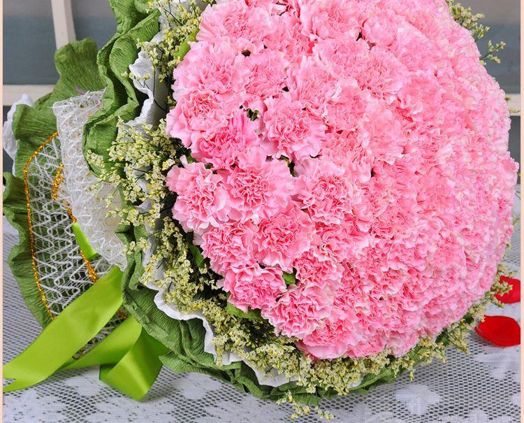 康乃馨百合花束图片