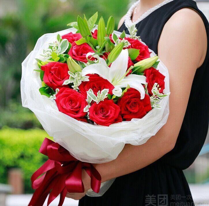 :长沙今日团购:【达琳花漾】11朵红玫瑰加3朵香水百合