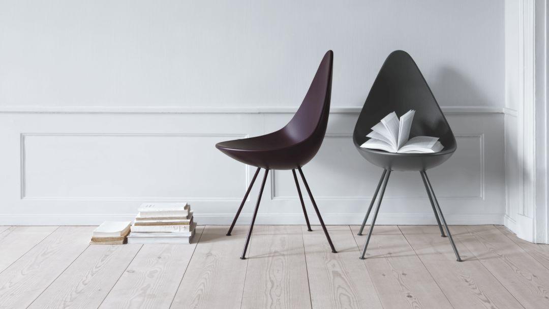 04 水滴椅 水滴椅同样出自雅各布森之手,形状就像大自然中的余地一样