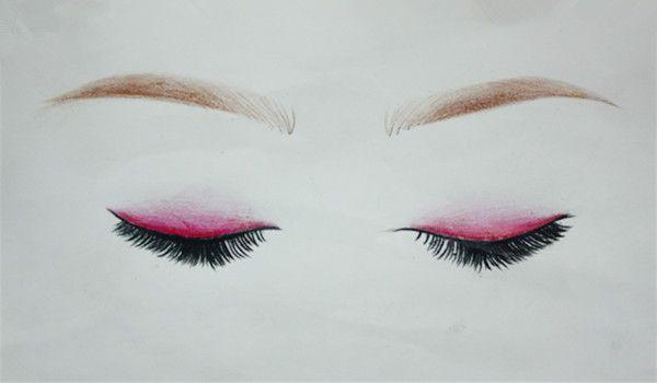 上海化妆学校荟艺素描班妆面彩铅眉眼课堂练习