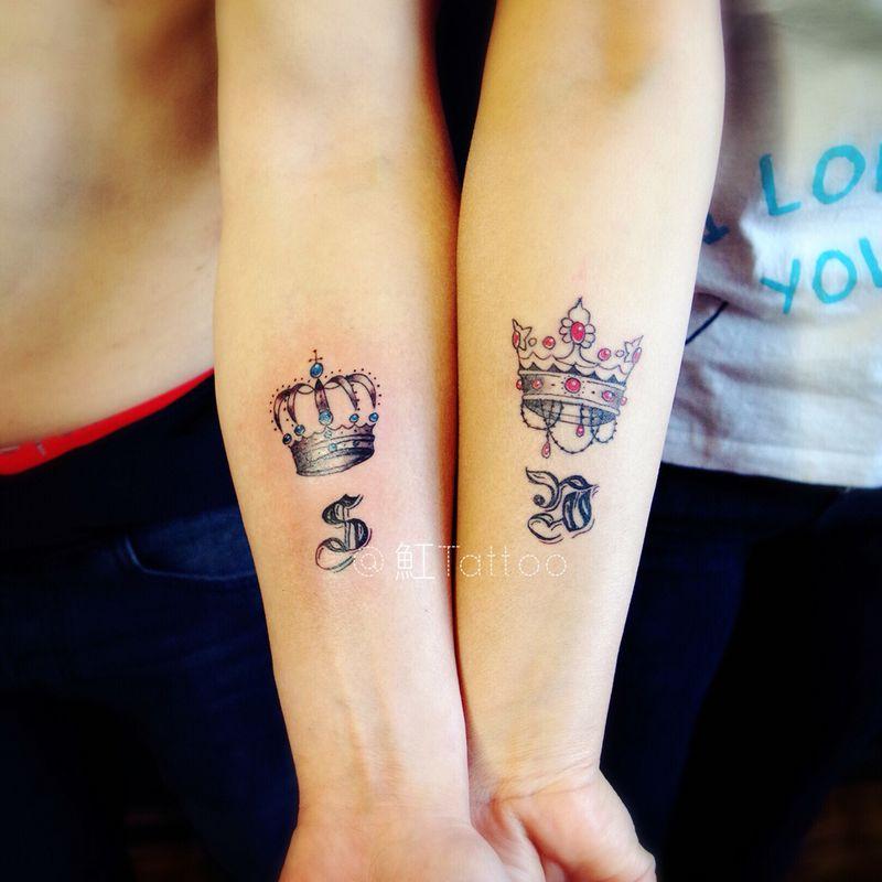 情侣皇冠纹身图
