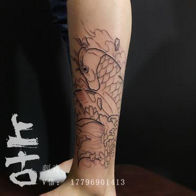 锦鲤线条纹身款式图