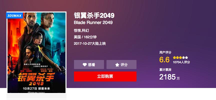 """""""银翼杀手"""" 评分跌至6.6,影评人:科幻,中国观众还没准备好"""
