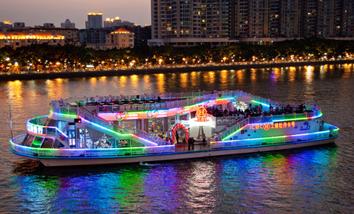【客村/赤岗】珠江夜游广州塔码头20:10场观景游船一层普通座成人票+茶水-美团