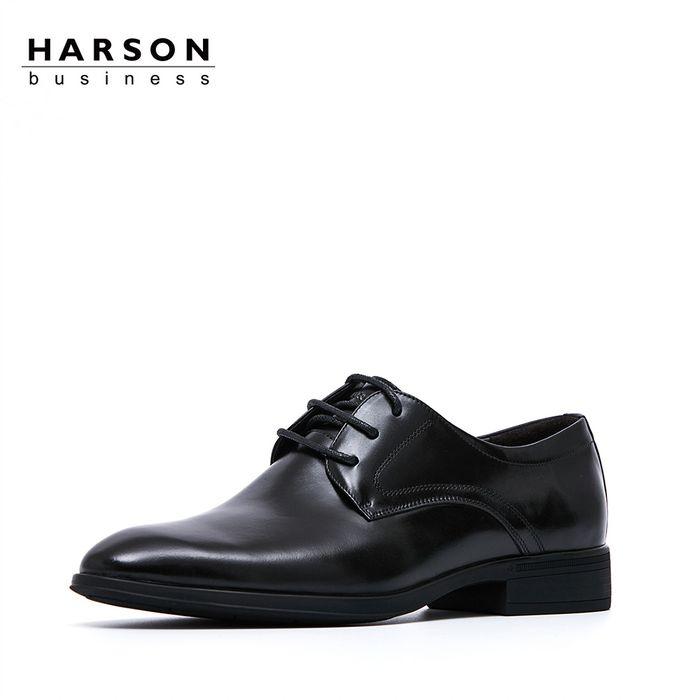 哈森2018春季牛皮革男鞋低跟圆头咖啡色时尚正装德比鞋 ms86445图片