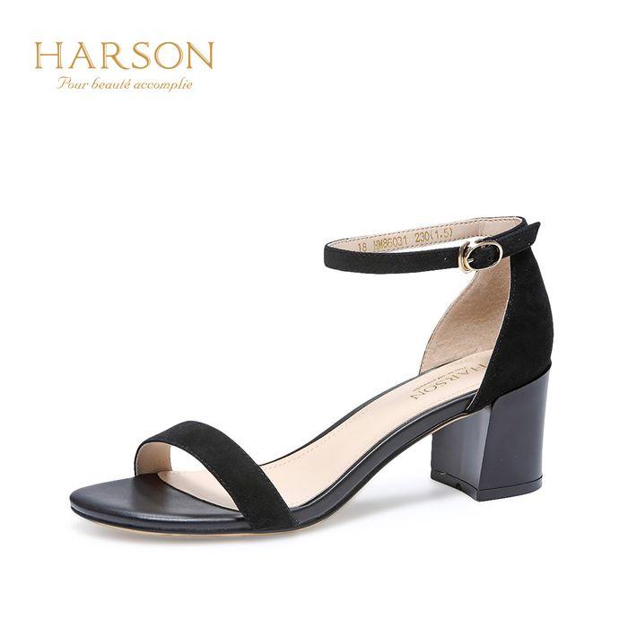 哈森2018夏季新款羊皮舒适通勤女鞋 一字带粗跟中跟凉鞋hm86031图片