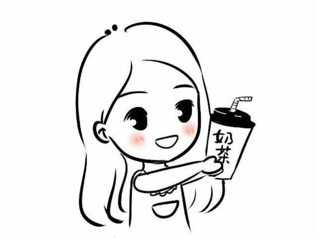 卡通奶茶简笔画
