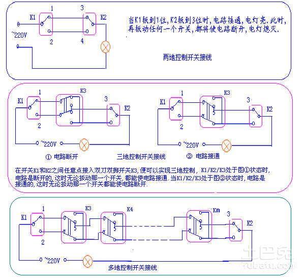 一灯双控开关接线图是什么样的?