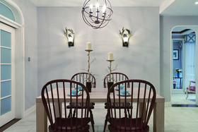 110平米三室兩廳美式風格餐廳背景墻裝修效果圖