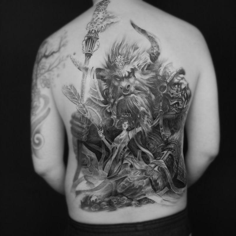 牛魔王纹身图-大众点评纹身图案大全